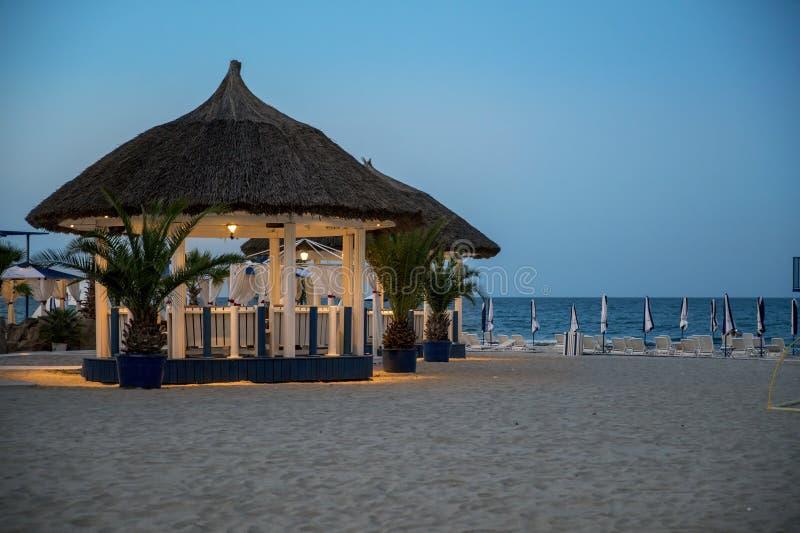 Luxury tropical beach restaurant stock photo