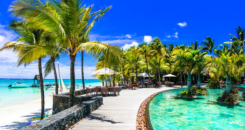 Luxury tropical vacation in Mauritius island stock photo