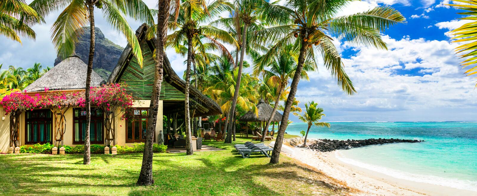 Luxury tropical vacation. Mauritius island royalty free stock photos