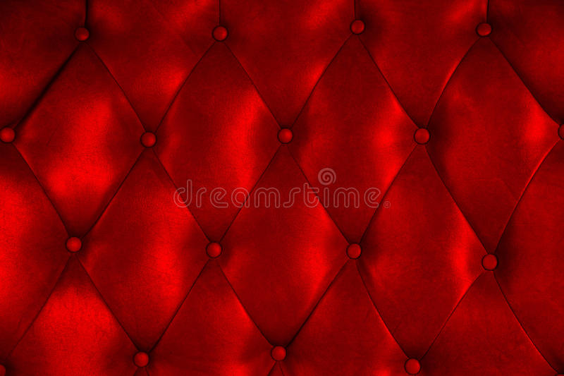 Luxury upholstery leather button chair texture. In red stock images