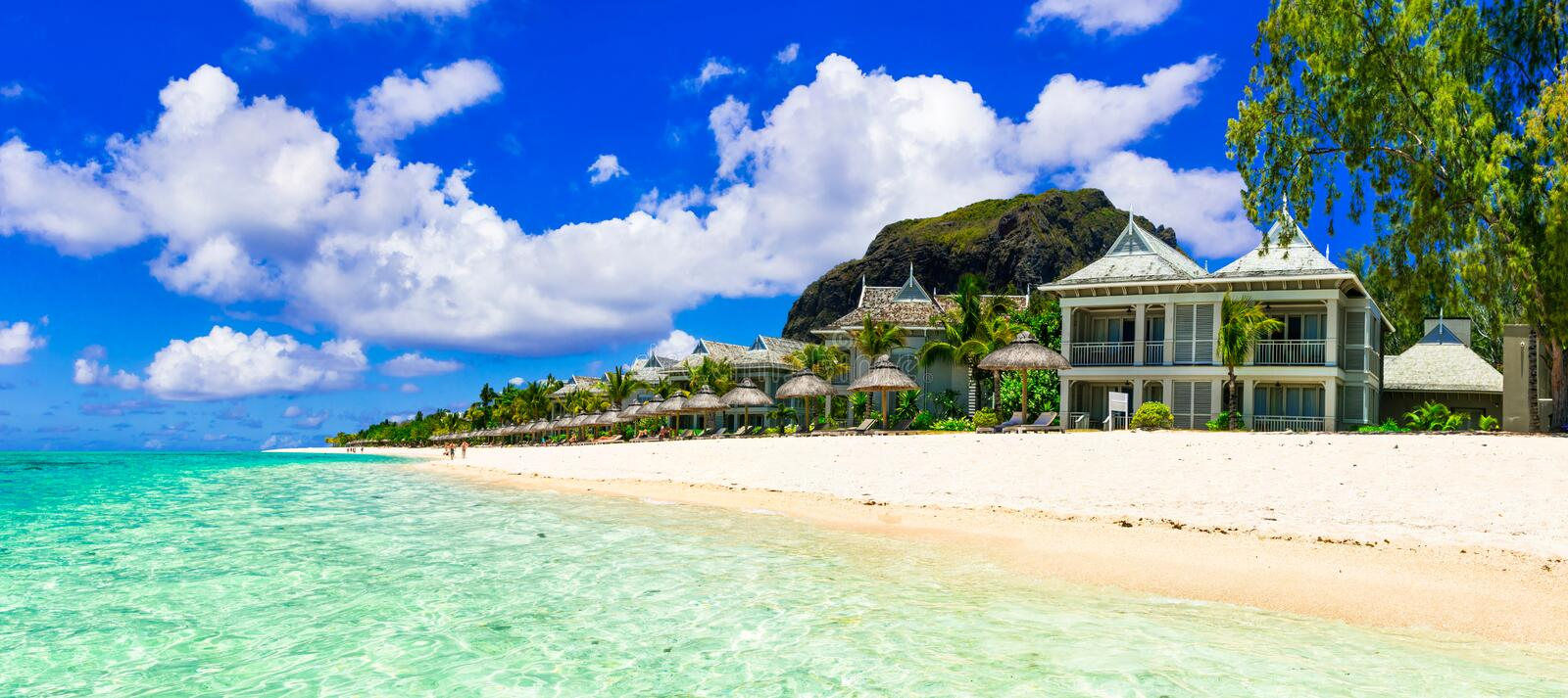 Luxury vacation in tropical resort. Mauritius island. stock photo
