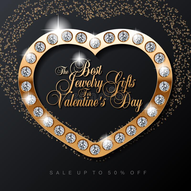 Luxury Valentines Day jewelry sale, special offer, discount, advertising campaign square vector banner, flyer, poster, voucher, so stock illustration