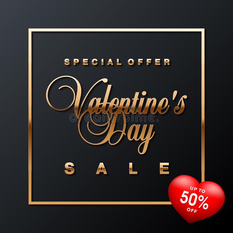 Luxury Valentines Day sale special offer, discount, advertising campaign square vector banner, flyer, poster, voucher, social netw royalty free illustration