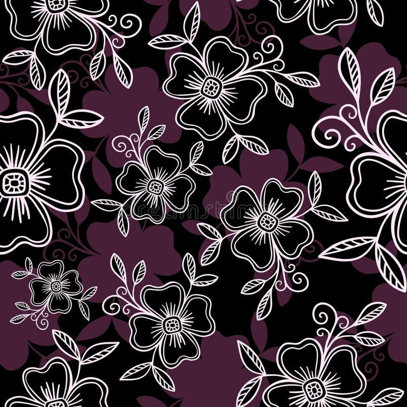 Luxury Vector seamless pattern - graphic flowers with leaves in violet colors royalty free stock photo