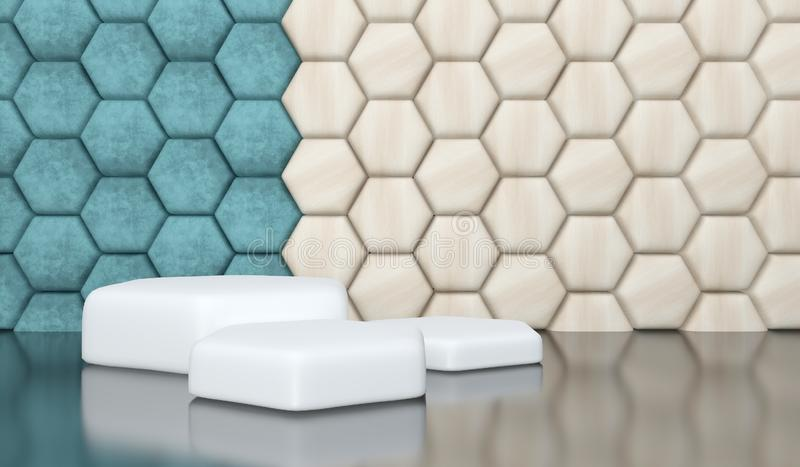 Luxury velour and wood hexagon geometric background with a three-level white podium for presentations. royalty free illustration