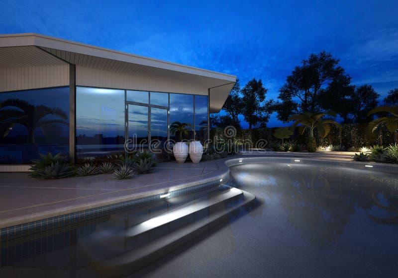 Luxury villa at night with an illuminated pool stock for Glass house luxury villa