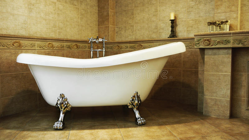 Luxury Vintage Bathroom Relaxation Interior stock photography