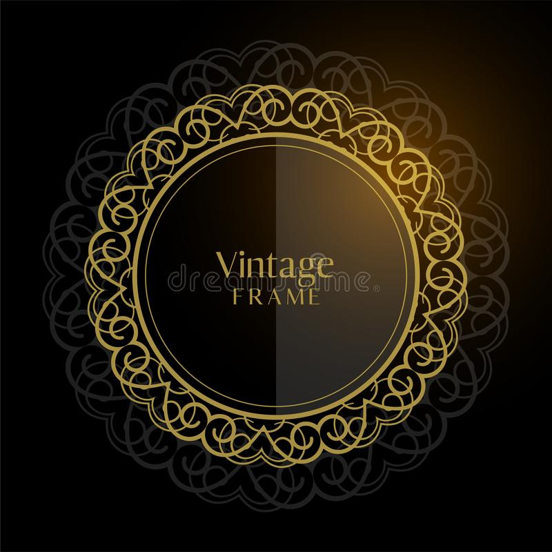 Luxury vintage circular frame background stock illustration
