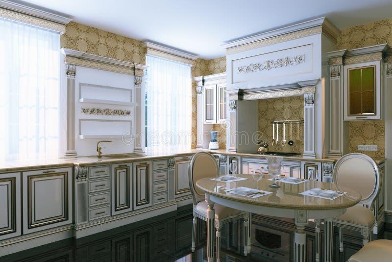 Luxury vintage kitchen interior with dining area. 3d render. Luxury vintage kitchen interior with dining area. 3d render royalty free stock photo