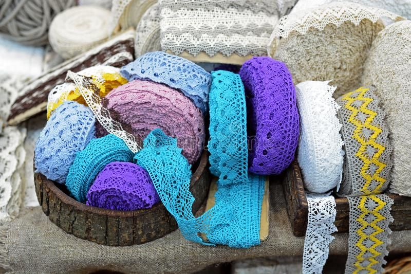 Luxury vintage lace ribbons for sewing on cloths and garments. Handicraft stock image