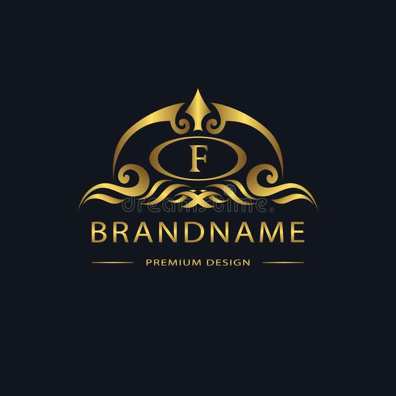 Luxury Vintage logo. Business sign, label, Letter emblem F for badge, crest, Restaurant, Royalty, Boutique brand, Hotel royalty free illustration