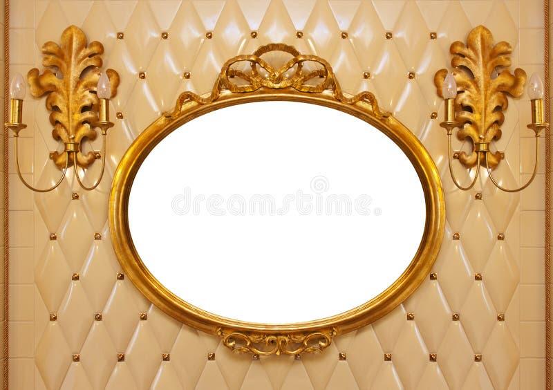 Luxury vintage mirror isolated inside stock image