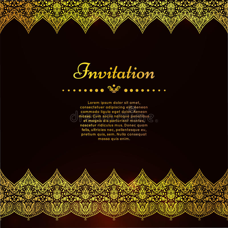 A luxury vintage vector card. Invitation with beautiful golden ornaments , lace border frame. Gold royal template stock illustration