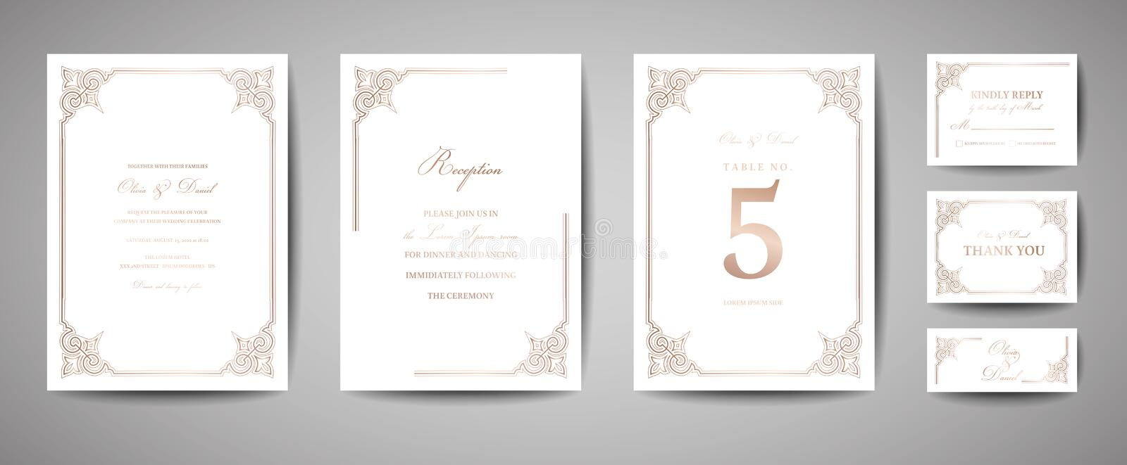 Luxury Vintage Wedding Save the Date, Invitation Cards Collection with Gold Foil Frame and Wreath. trendy cover, graphic stock illustration
