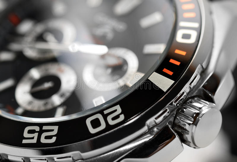 Luxury watch. Chronograph close up stock photography
