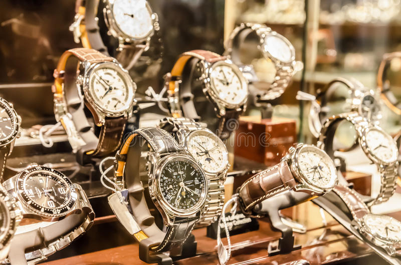 Luxury Watches. Luxurious Watches In A Store Stand royalty free stock photography
