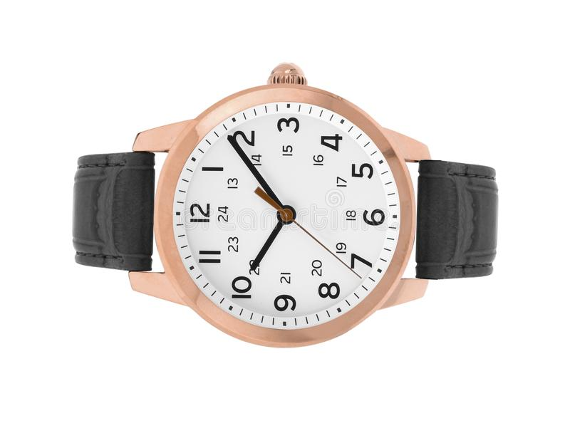 Luxury watches with a leather strap. On a white background stock images