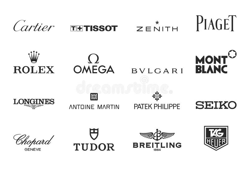 Luxury watches logos. Vector brand logos collection of the 16 most famous luxury watches producers in the world. Eps file available royalty free illustration