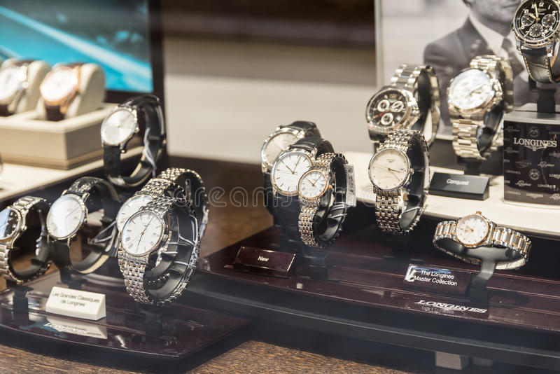Luxury Watches For Sale In Shop Window Display. BUCHAREST, ROMANIA - MAY 19, 2015: Luxury Watches For Sale In Shop Window Display royalty free stock images