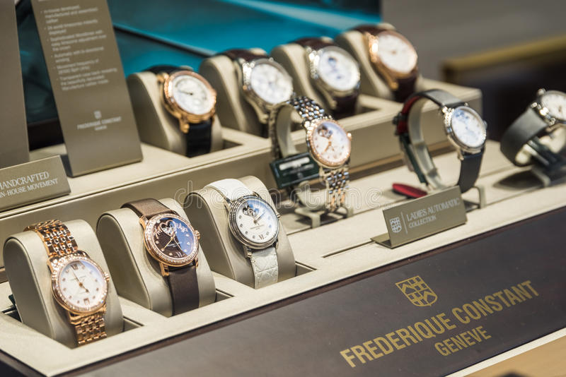 Luxury Watches For Sale In Shop Window Display. BUCHAREST, ROMANIA - MAY 19, 2015: Luxury Watches For Sale In Shop Window Display stock photography