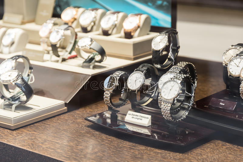 Luxury Watches For Sale In Shop Window Display. BUCHAREST, ROMANIA - MAY 19, 2015: Luxury Watches For Sale In Shop Window Display royalty free stock photo