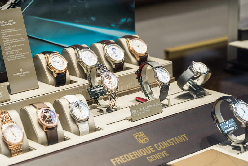 Luxury Watches For Sale In Shop Window Display. BUCHAREST, ROMANIA - MAY 19, 2015: Luxury Watches For Sale In Shop Window Display stock photos
