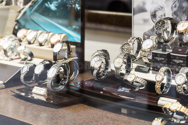 Luxury Watches For Sale In Shop Window Display. BUCHAREST, ROMANIA - MAY 19, 2015: Luxury Watches For Sale In Shop Window Display royalty free stock image