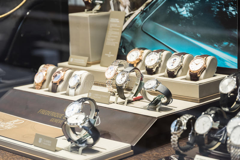 Luxury Watches For Sale In Shop Window Display. BUCHAREST, ROMANIA - MAY 19, 2015: Luxury Watches For Sale In Shop Window Display stock image