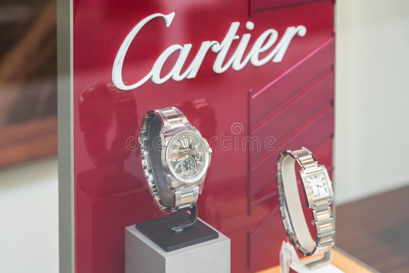Luxury Watches For Sale In Shop Window Display. BUCHAREST, ROMANIA - MAY 24, 2015: Luxury Watches For Sale In Shop Window Display stock images
