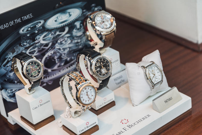Luxury Watches For Sale In Shop Window Display. BUCHAREST, ROMANIA - MAY 24, 2015: Luxury Watches For Sale In Shop Window Display royalty free stock image