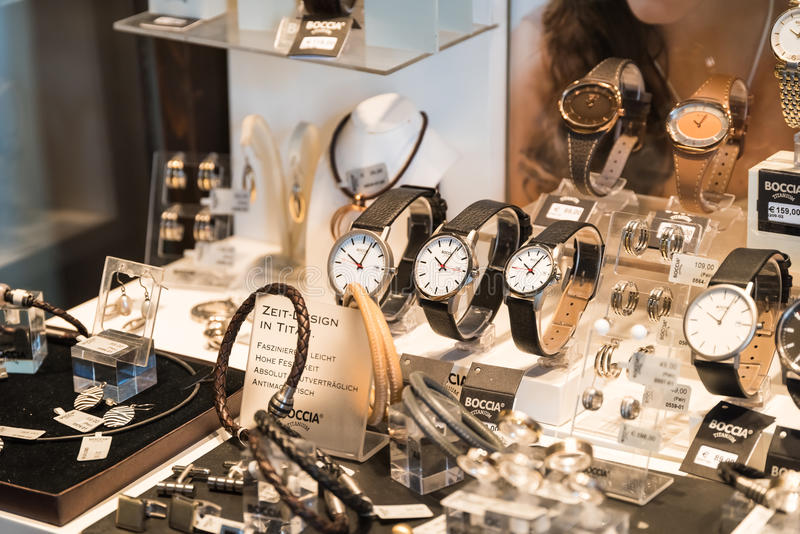 Luxury Watches For Sale In Shop Window Display. VIENNA, AUSTRIA - AUGUST 09, 2015: Luxury Watches For Sale In Shop Window Display stock photography
