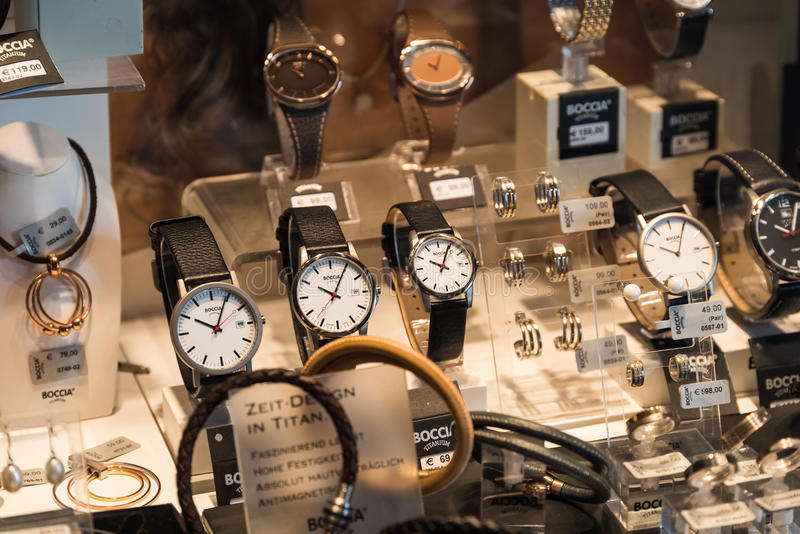 Luxury Watches For Sale In Shop Window Display. VIENNA, AUSTRIA - AUGUST 09, 2015: Luxury Watches For Sale In Shop Window Display stock photo