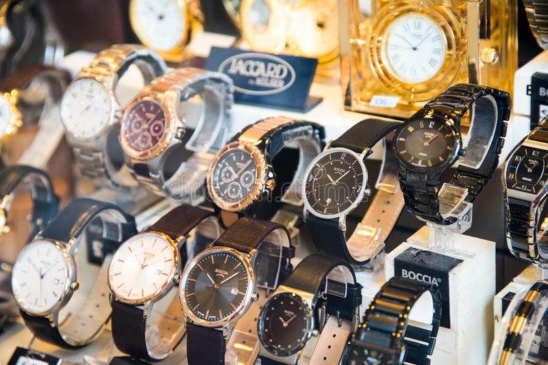 Luxury Watches For Sale In Shop Window Display. VIENNA, AUSTRIA - AUGUST 10, 2015: Luxury Watches For Sale In Shop Window Display royalty free stock photos