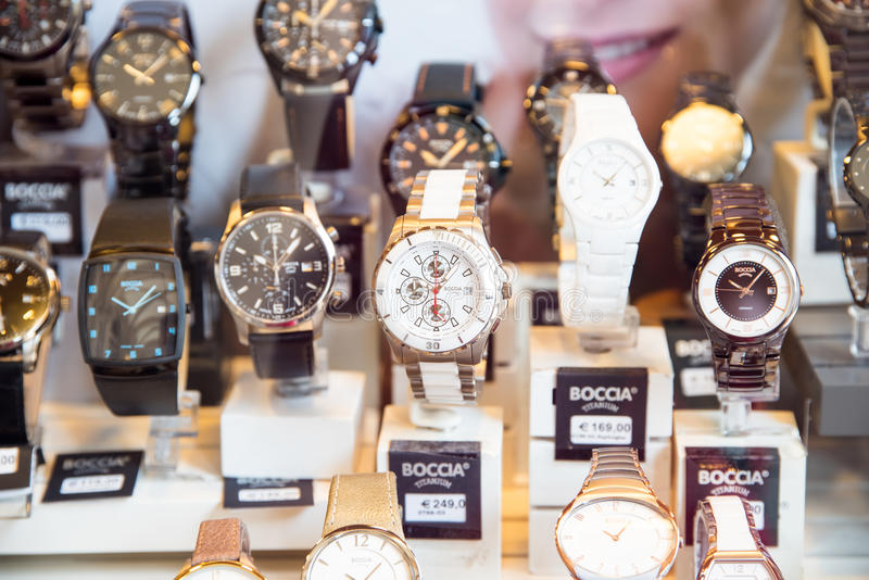 Luxury Watches For Sale In Shop Window Display. VIENNA, AUSTRIA - AUGUST 10, 2015: Luxury Watches For Sale In Shop Window Display royalty free stock images