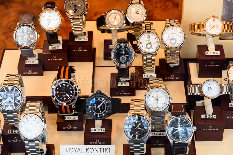 Luxury Watches For Sale In Shop Window Display. VIENNA, AUSTRIA - AUGUST 15, 2015: Luxury Watches For Sale In Shop Window Display royalty free stock photography