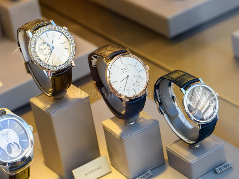 Luxury Watches For Sale In Shop Window Display. VIENNA, AUSTRIA - AUGUST 15, 2015: Luxury Watches For Sale In Shop Window Display royalty free stock photos
