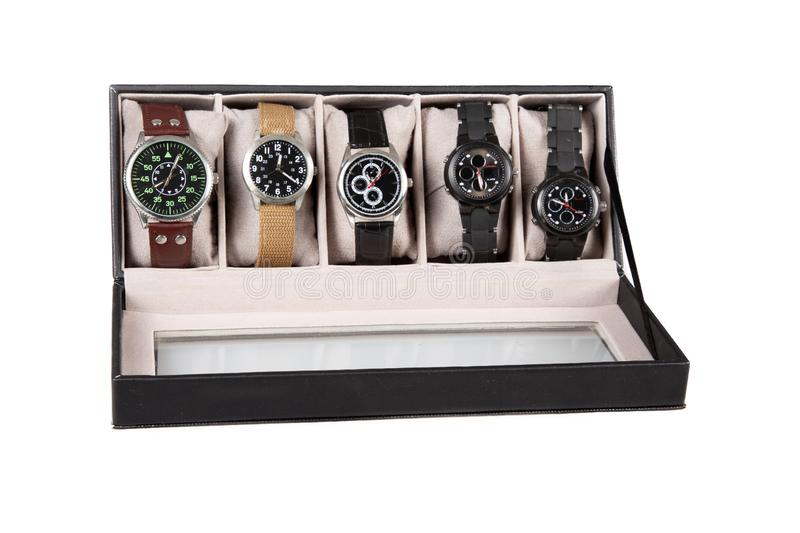 A luxury watches wristwatch in a black box on white background stock photos