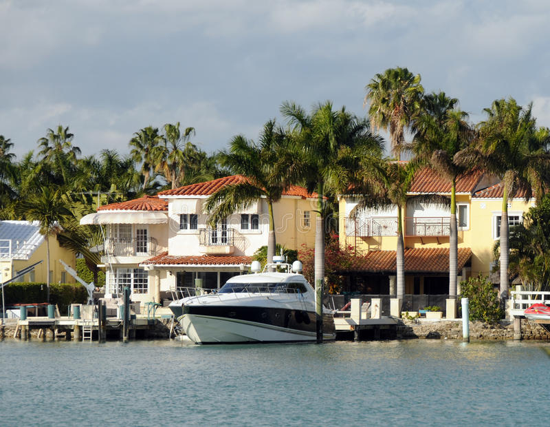 Luxury waterfront home stock photos