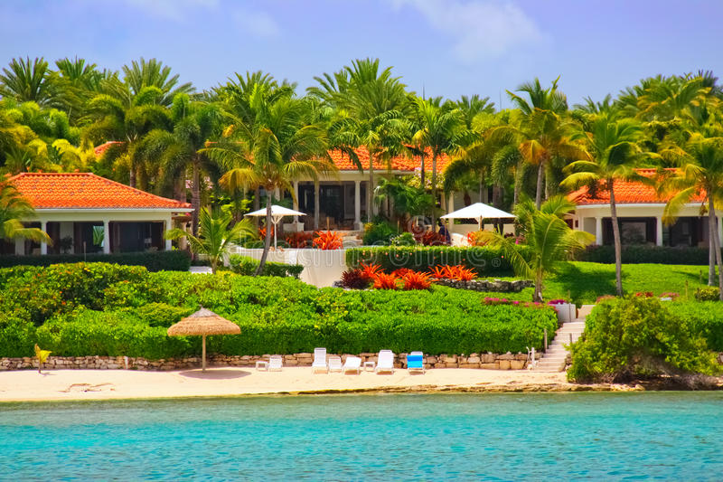 Download Luxury Waterfront Mansion With Beach On Antigua Stock Image - Image: 20624555