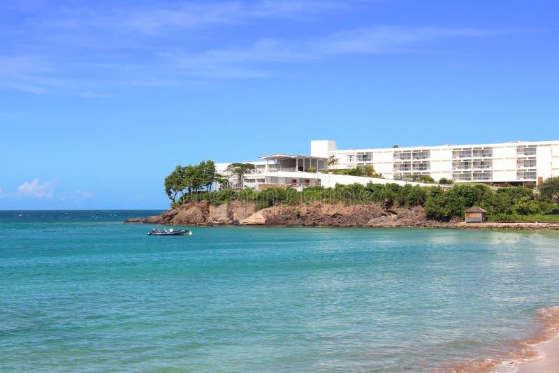 Luxury waterfront resort, Guadeloupe royalty free stock image