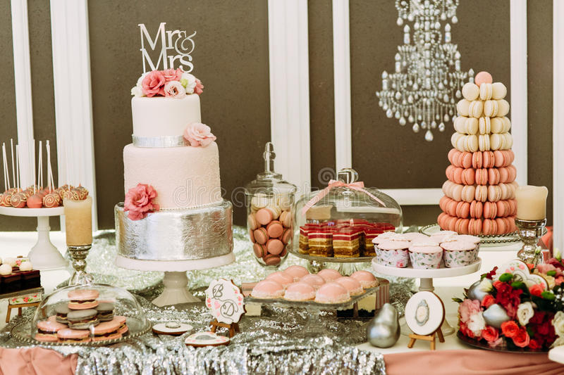 macaroons wedding cake luxury wedding cake with the macaroons and cupcakes stock 16971
