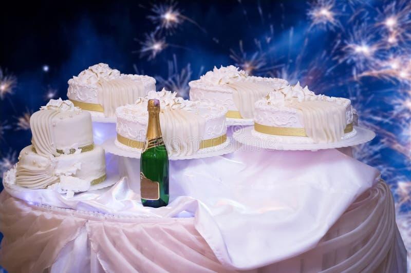 Luxury wedding cake s champagne stock photos