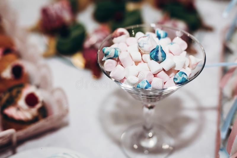 luxury wedding catering, table with modern marshmallow desserts, cupcakes, sweets with fruits. delicious candy bar at expensive w royalty free stock photo