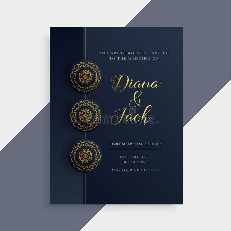 luxury wedding invitation card design in dark and gold color royalty free illustration