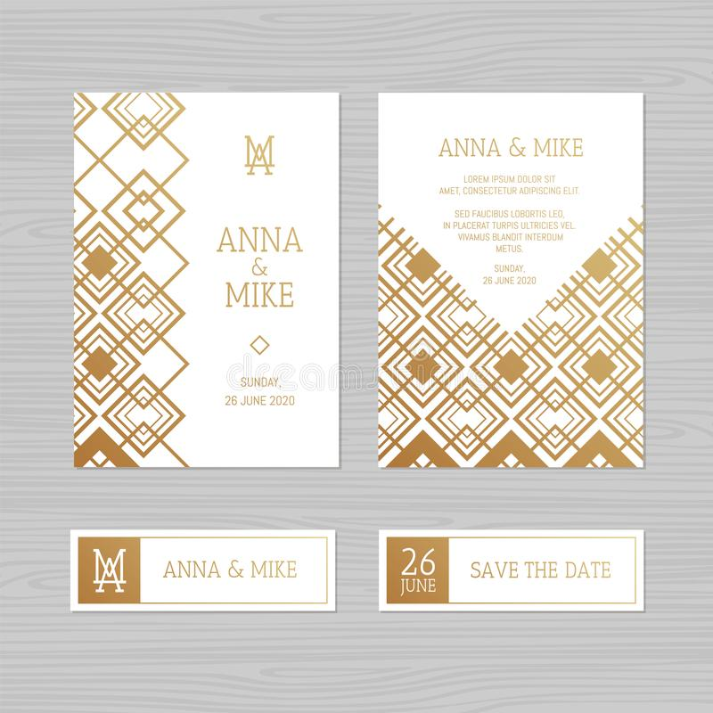 Luxury wedding invitation or greeting card with geometric ornament. Art Deco style. Vector illustration. royalty free illustration