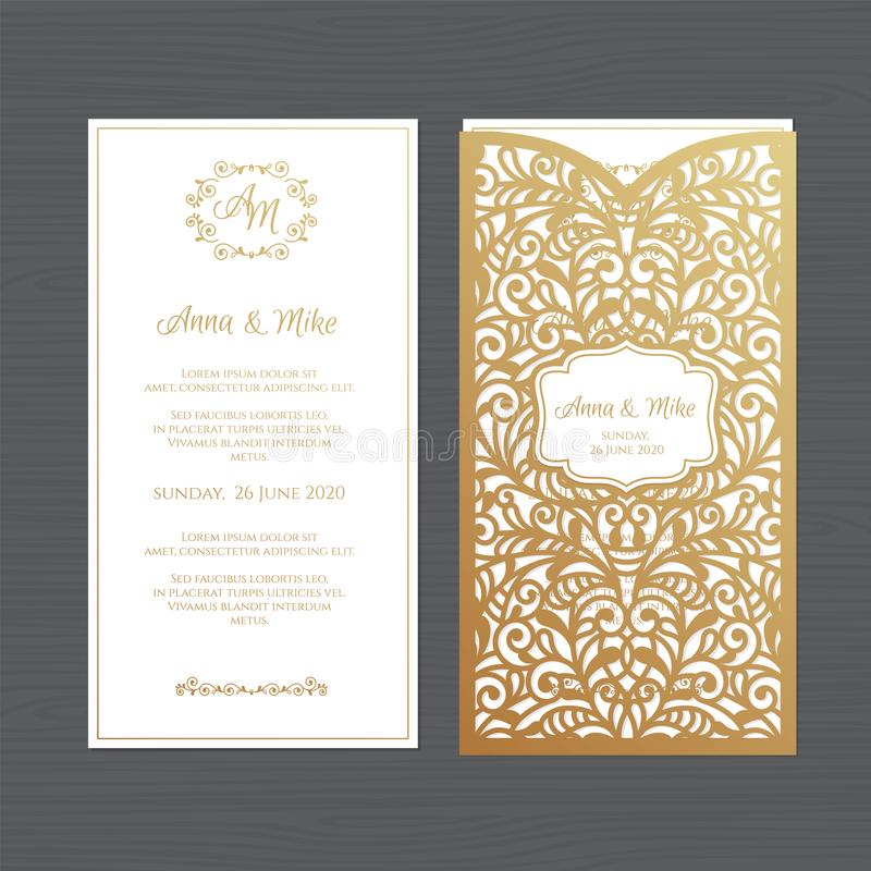 Luxury wedding invitation or greeting card with vintage floral o. Rnament. Paper lace envelope template. Wedding invitation envelope mock-up for laser cutting royalty free illustration