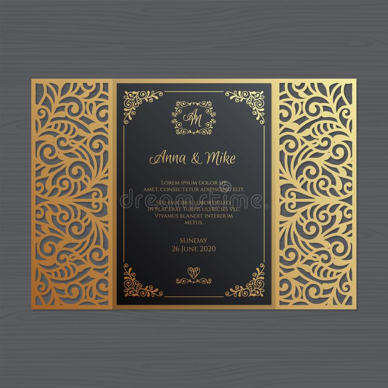 Luxury wedding invitation or greeting card with vintage floral o royalty free stock images