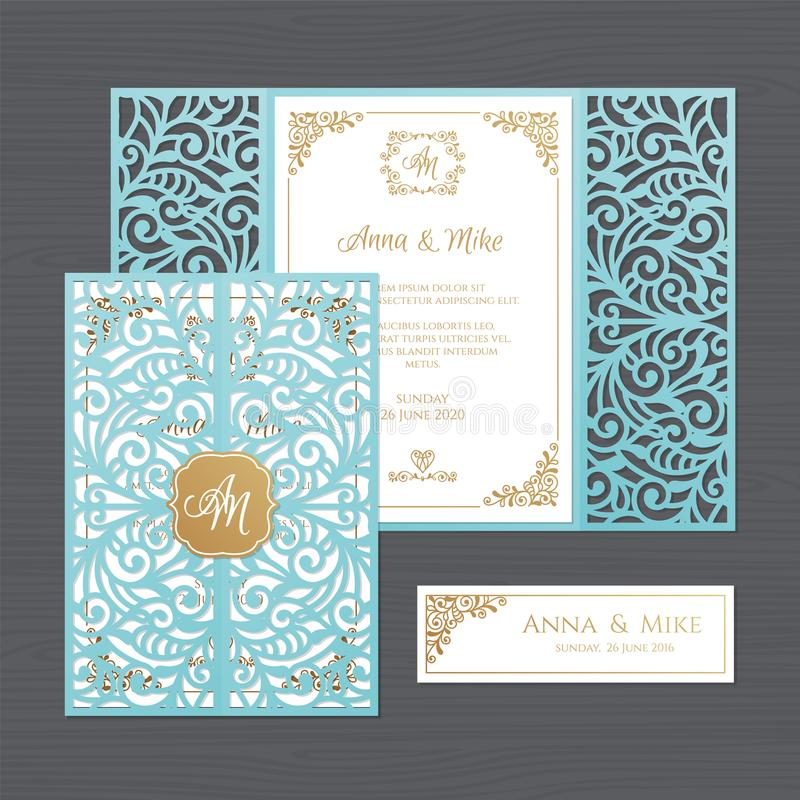 Luxury wedding invitation or greeting card with vintage floral o. Rnament. Paper lace envelope template. Wedding invitation envelope mock-up for laser cutting vector illustration