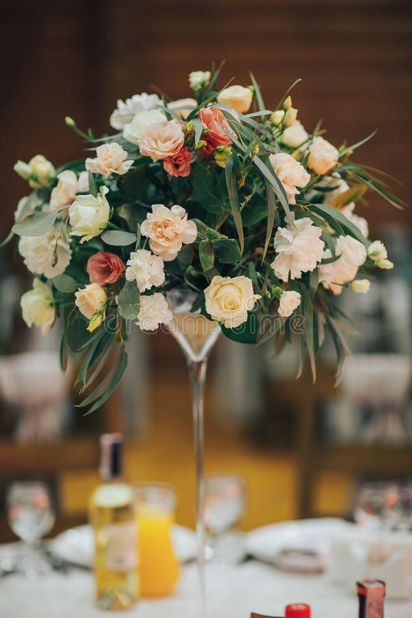 Luxury wedding reception. Details of a rustic wedding table and wooden elements stock images