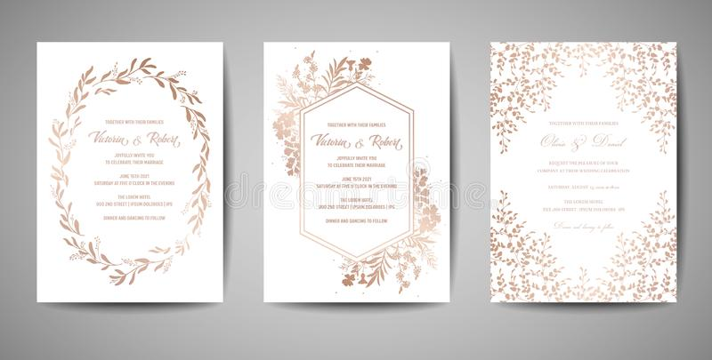 Luxury Wedding Save the Date, Invitation Cards Collection with Gold Foil Flowers and Leaves and Wreath trendy cover vector illustration